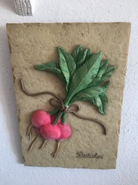 Green and pink flower painting