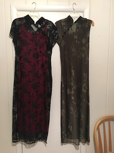 women's two black and brown floral print chinese traditional dresses