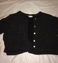 women's black and white polka dot button up