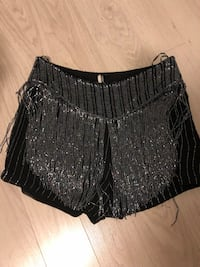 Topshop Black sequinned fringe shorts. Size US 10