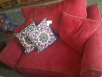 red fabric sofa with throw pillows Hampstead, 28443