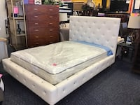 White Leather Faux Diamond Studded Platform Full Size Bed 167 mi