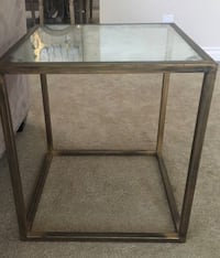 Glass topped side table with brass frame Irvine, 92603