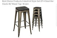 pile of brown steel bar stools