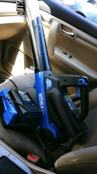 blue and black Kobalt power tool