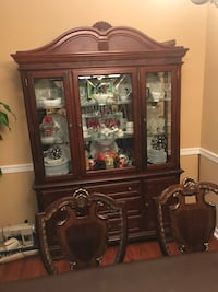 brown wooden framed glass display cabinet Manassas, 20110