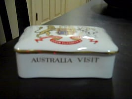 """Fine Bone China Crown""""Container"""" Made In England Australia Visit"""