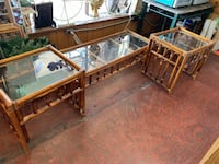 Three piece set. Coffee table and end tables with glass tops