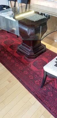 """Hamilton dining table base brown with glass 54"""" se"""
