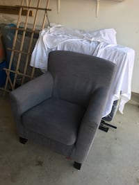 gray fabric sofa chair with throw pillow Calgary, T2C 3N5