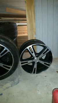 two chrome 5-spoke car wheels with tires Glendale Heights, 60139