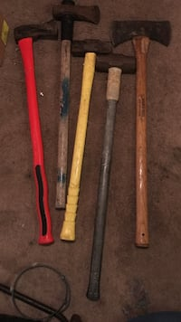 five brown, red and  yellow wooden handled hand tools Williamsburg, 23185