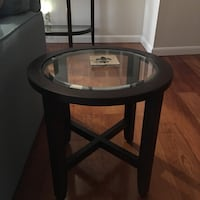 2 apartment-size end tables,wood with bevel glass, by Crate & Barrel