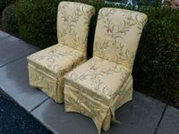 two brown-and-white floral padded armchairs Forest Hill, 21050