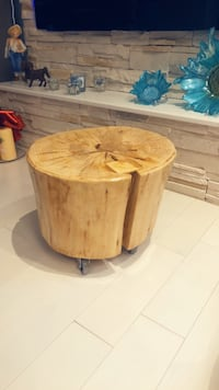 Wood log on casters