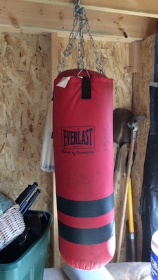 red and black Everlast leather heavy weight bag