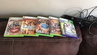 five assorted Xbox 360 game cases
