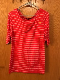 red and gray stripe crew neck 3/4 sleeve top Great Falls, 59405