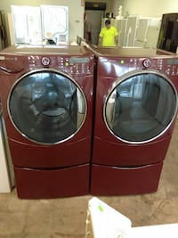red front load washing machine and dryer set