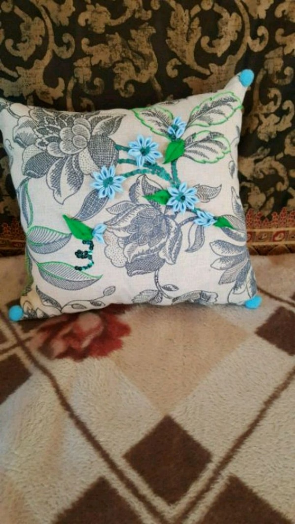 Handmade new pillow gray With blue  flowers