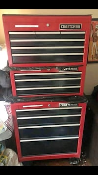 Red and black craftsman tool chest Brick, 08723