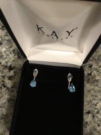 Kay Jewelers sterling silver front & back pierced earrings with blue stone NEW IN BOX 20% off now until 1/14/19 Georgetown, 40324