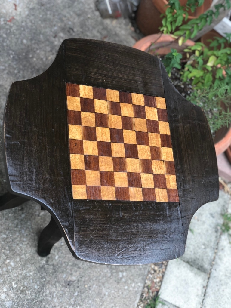 Antique Chess /checkers Side Table