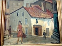 250/Painted On Carboard Signed By DUCASSALES 1900-1949 EAUROPE FINE ANTIQUE IMPRESSIONIST OIL PAINTING PARIS SCENE OF STREET 14X16 Inches Includes Frame Toronto