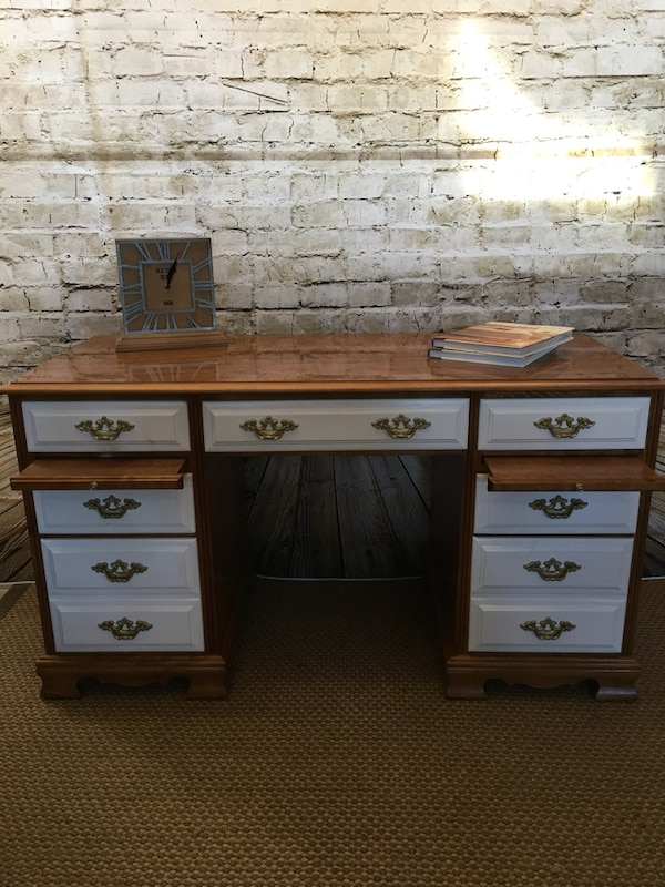 brown and white wooden single pedestal desk