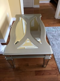 white wooden framed glass top side table Toronto, M6M 3T4