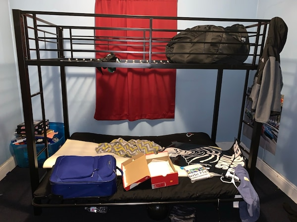 huge selection of e00ee f6073 Bunk bed bottom full futon top twin bed barely used my son still sleeps in  my bed we use as clothes hanging lol