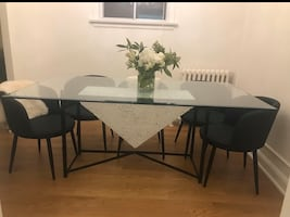 Dining Table Glass & Wrought Iron