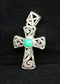 STERLING SILVER CROSS PENDANT WITH TURQUOISE STONE