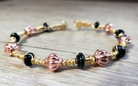 Hand Crafted Gold Memory Wire Wrapped Bracelet, Glass & Metal Beads