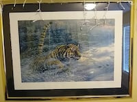 painting of tiger with brass-colored frame Geneva, 44041