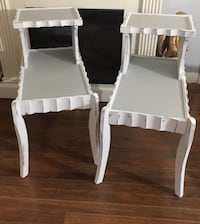 two white wooden framed padded armchairs Stevensville, 49127