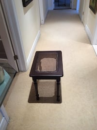 Wood and rattan end table or Bench 18x 13x20 Montreal
