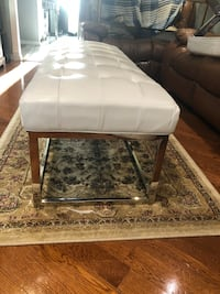 New pearl white leather bench with metal frame size LxWxH 60x20x18 contact Richard  [TL_HIDDEN]  Toronto, M9V 4T4