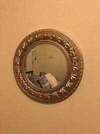 Circle mirror with gold/silver outer detailing.  Chicago, 60622