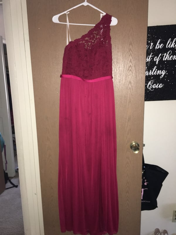 Candy Apple Red Dress with split d2207eed-110c-4618-aef6-4b1ec5e1340a