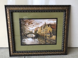 Brown house and bridge painting