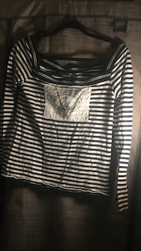 black and white striped square-neckline long-sleeved shirt by Ralph Lauren