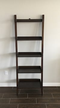 Ladder bookshelf with 5 shelves in espresso finish, 6 feet tall. includes anchor tab to attach to wall