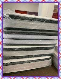 pillow top mattress queen mattress with. box spring in plastic.  Falls Church, 22041