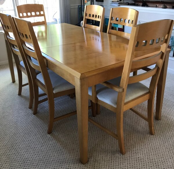Used Rectangular Brown Wooden Table With Six Chairs Dining Set For In San Jose Letgo