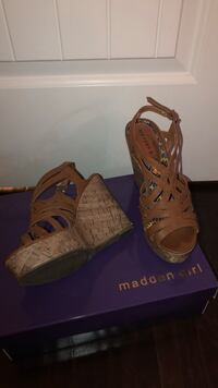 pair of brown Madden Girl leather strappy cage open-toe cork wedge sandals Level Plains, 36330