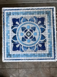 Small Blue Tiled Table New Castle, 19720