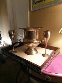 Hand made real silver ice bucket and flutes