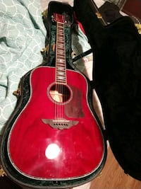 red dreadnought acoustic guitar with hardside case Seabrook, 77586