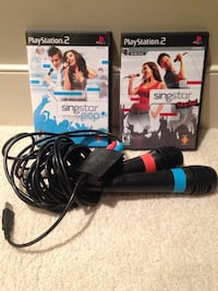ps2 singstar pop games; two ps2 sony microphones Calgary, T3H 0R9
